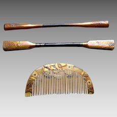 3 Japanese Kanzashi hair accessories geisha hair comb hair pin
