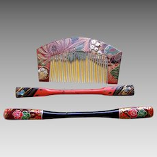 3 Japanese Kanzashi hair accessories geisha hair comb hair pin