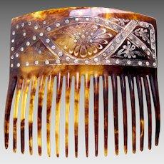 Victorian faux tortoiseshell rhinestone hair comb hair accessory
