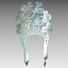 Sterling silver English hair comb 1904/5 shamrock design hair accessory