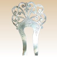 Sterling silver English Edwardian hair comb 1901 shamrock design hair accessory