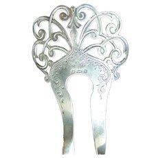 Sterling silver English Edwardian hair comb 1901 shamrock design hair accessory