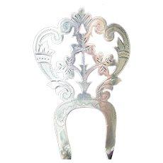 Sterling silver Edwardian hair comb 1906/7 shamrock design hair accessory