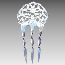 Art Nouveau English sterling silver hair comb 1904/5 hair ornament