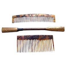 3 Vintage Japanese Kanzashi hair accessories geisha hair comb