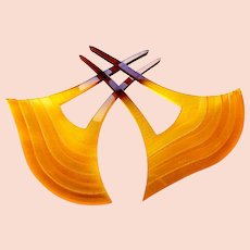 2 Japanese Kanzashi hair combs amber celluloid hair accessories