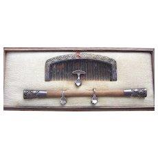 2 vintage Japanese Kanzashi boxed set hair accessories geisha hair comb