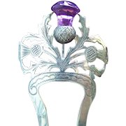 Sterling silver English hair comb 1906/7 thistle design hair accessory