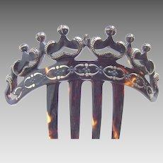 Victorian tortoiseshell gold pique tiara hair comb hair accessory
