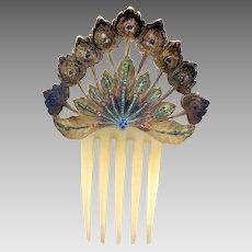 Art Nouveau hand painted celluloid hair comb Spanish style hair ornament