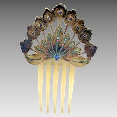 Art Nouveau hand painted celluloid hair comb Spanish style hair ornament