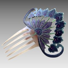Art Nouveau hand painted celluloid hair comb Spanish style hair accessory