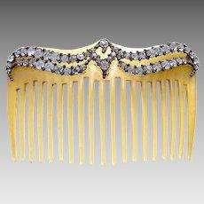 Mid century hair comb rhinestone celluloid hair accessory