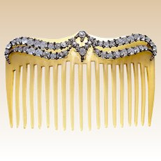 Mid century hair comb rhinestone celluloid hair accessory