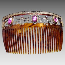 Victorian faux tortoiseshell hair comb with amethyst stones hair ornament
