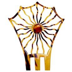 Art Deco hair comb celluloid spider's web design Spanish hair ornament