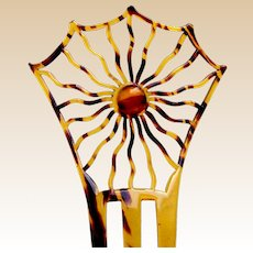 Art Deco hair comb celluloid spider's web design Spanish hair ornament