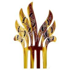 Art Deco hand painted spiky hair comb hair accessory