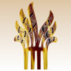 Art Deco hand painted spiky hair comb hair accessory
