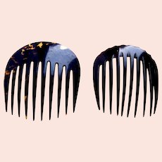 2 Victorian hair combs mourning hair accessories