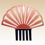 Art Deco hair comb Spanish style pink celluloid hair accessory