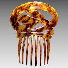 Victorian steer horn Spanish mantilla style hair comb headdress