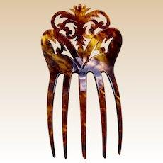Art Nouveau hair comb faux tortoiseshell Spanish mantilla style hair accessory