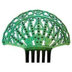 Art Deco green celluloid Spanish style hair comb hair ornament