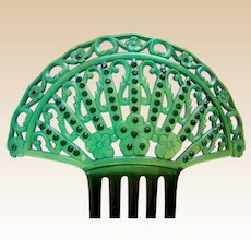 Art Deco green celluloid Spanish style hair comb hair ornament