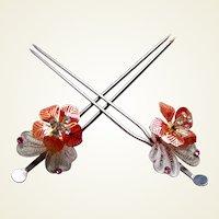 Vintage Japanese geisha Kanzashi hair pins matched pair bridal hair ornaments