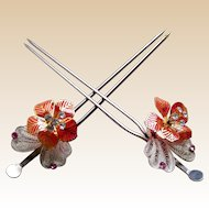 Vintage Japanese geisha Kanzashi hair pins matched pair bridal hair ornaments