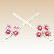 Matched pair vintage Japanese hair pins geisha Kanzashi hair ornament