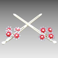 Matched pair vintage Japanese hair pins geisha Kanzashi hair ornament