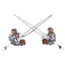 Japanese vintage kanzashi hair pins matched pair geisha wedding hair accessory