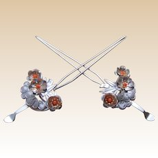 Japanese vintage kanzashi hair pins matched pair geisha wedding hair accessory