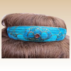 Magnificent Chinese kingfisher feather tiara hair accessory bridal headdress