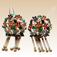 Matched pair vintage Japanese hair pins geisha Kanzashi hair accessories