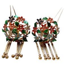 Matched pair vintage Japanese hair pins geisha Kanzashi hair accessories