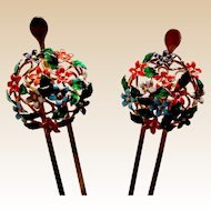 Japanese geisha Kanzashi hair pins matched pair hair ornament