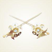 Matched pair vintage Japanese geisha hair pins Kanzashi figural bird hair ornaments