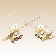 Matched pair vintage Japanese geisha hair pins Kanzashi figural bird hair ornaments