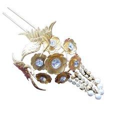 Vintage Japanese geisha Kanzashi hair pin figural birds hair accessory