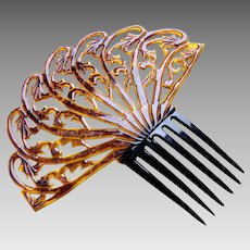Large amber celluloid Art Deco hair comb Spanish style hair accessory