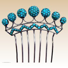 Late Victorian sterling silver turquoise filigree hair comb hair accessory