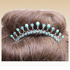 Late Victorian silver turquoise filigree hair comb tiara style headdress