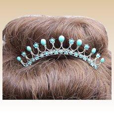 Late Victorian silver turquoise filigree hair comb tiara style headdress
