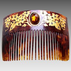Victorian hair comb faux tortoiseshell rhinestone hair accessory
