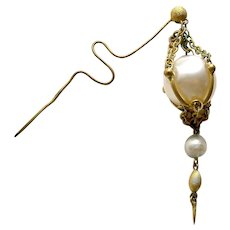 Early Victorian Moorish style faux pearl hairpin hair ornament