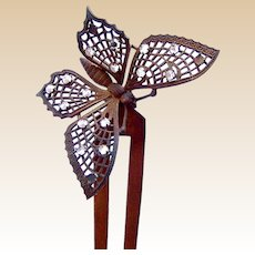 Hair comb figural butterfly hair pin ornament