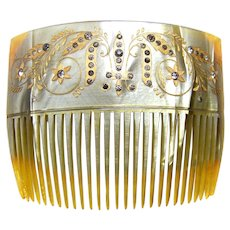 Edwardian celluloid hair comb with rhinestones hair jewelry